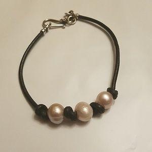 Freshwater Pearl Black Leather Bracelet Handmade